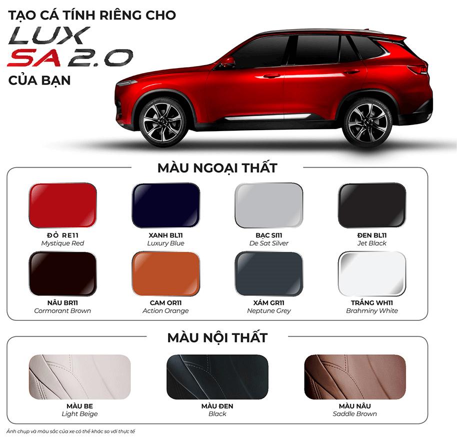 Chon Mau Xe Vinfast Lux Sa 0